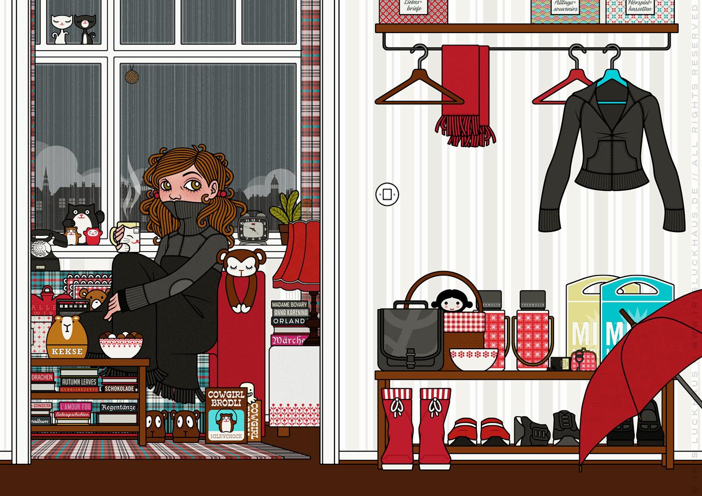 Zeichnung von einem Mädchen bei Ihrer Zuflucht vor Weltschmerz, auf dem Sofa mit Tee, Hörspiel, Strickjacke und Wolldecke, für Lily Lux von Iris Luckhaus