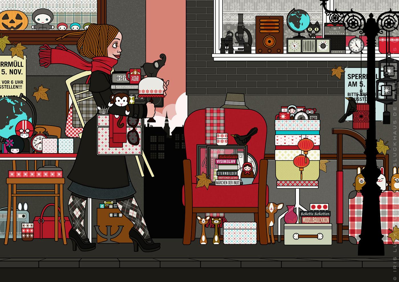 Zeichnung eines Mädchens, das auf dem Flohmarkt oder Sperrmüll Dinge, Taschen, Lampen, Tassen und Figuren findet und mitnimmt, für Lily Lux von Iris Luckhaus