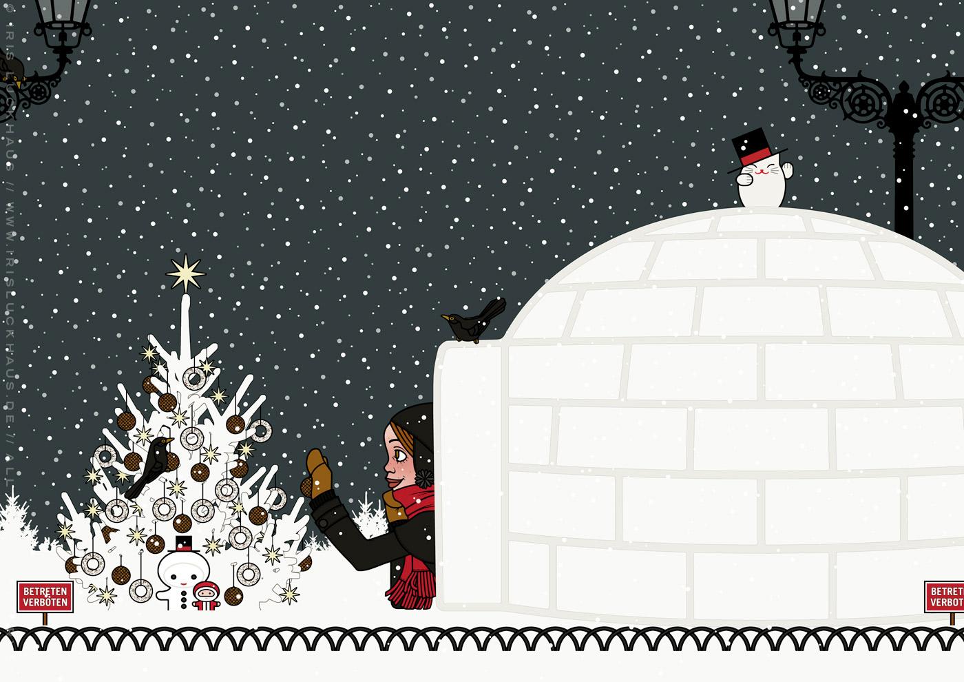 Zeichnung von einem Mädchen, das im Iglu Weihnachten feiert und Meisenknödel an einen Weihnachtsbaum hängt, während Amseln neugierig zusehen aus Die wunderbare Welt der Lily Lux von Iris Luckhaus