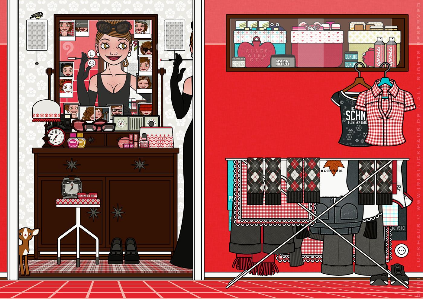 Zeichnung von einem Mädchen, das sich vor dem Spiegel neu erfindet und als Dame im schicken schwarzen Abendkleid mit eleganten Handschuhen wie Holly Golightly eine mondäne Zigarettenspitze hält, für Lily Lux von Iris Luckhaus