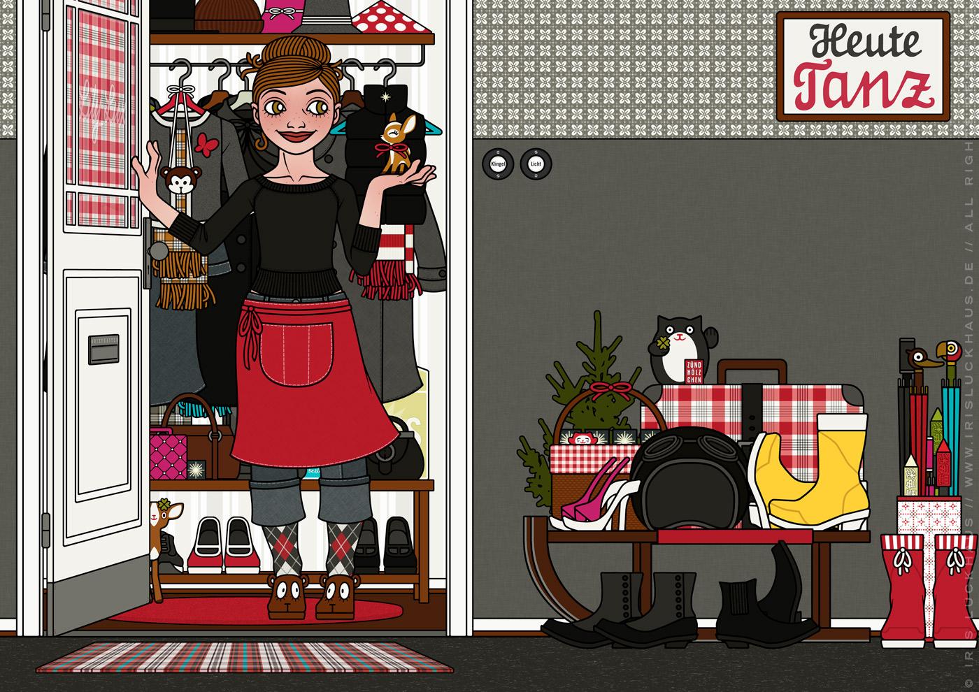Zeichnung von einem Mädchen, die in Schürze an der Wohnungstür Gäste zu Feier, Essen oder Party empfängt und ein kleines Reh mitgebracht bekommt, für Lily Lux von Iris Luckhaus
