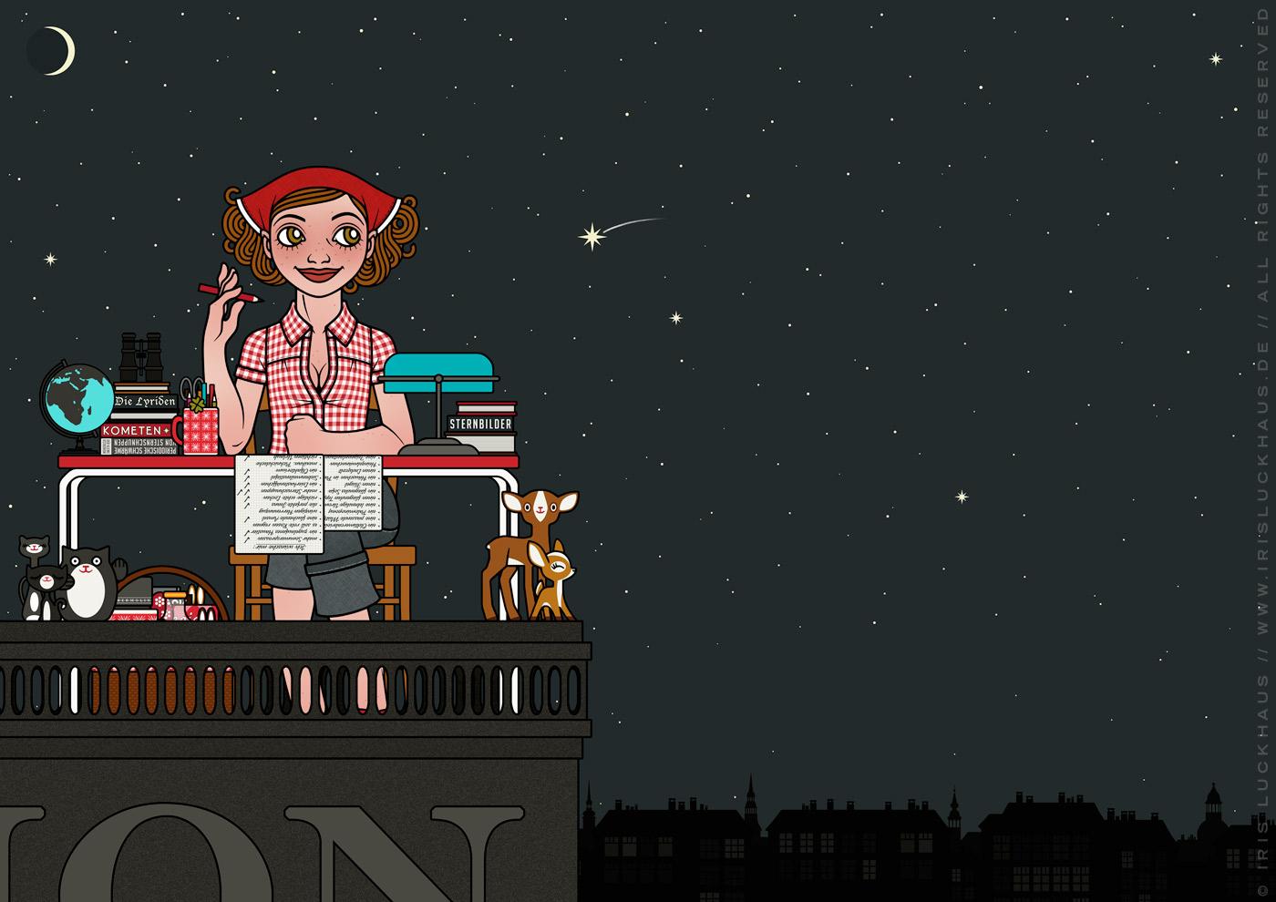 Zeichnung von einem Mädchen, das mit Schreibtisch, Stuhl, Tischlampe, Globus, Fernglas und Büchern bei Nacht auf einem Dach sitzt, Stenschnuppen beoachtet und Wünsche auf einer Liste abhakt, für Lily Lux