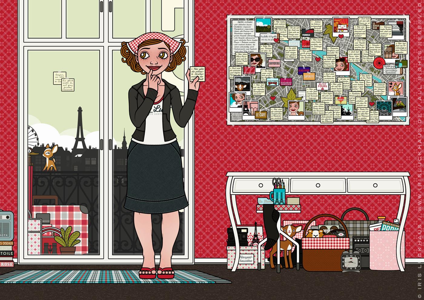 Zeichnung von einem Mädchen, das im Hotelzimmer in Paris den Reiseführer wegwirft und eigene Sehenswürdigkeiten, die sie beim Verlaufen gefunden hat, auf Zetteln auf einen Stadtplan klebt, für Lily Lux von Iris Luckhaus