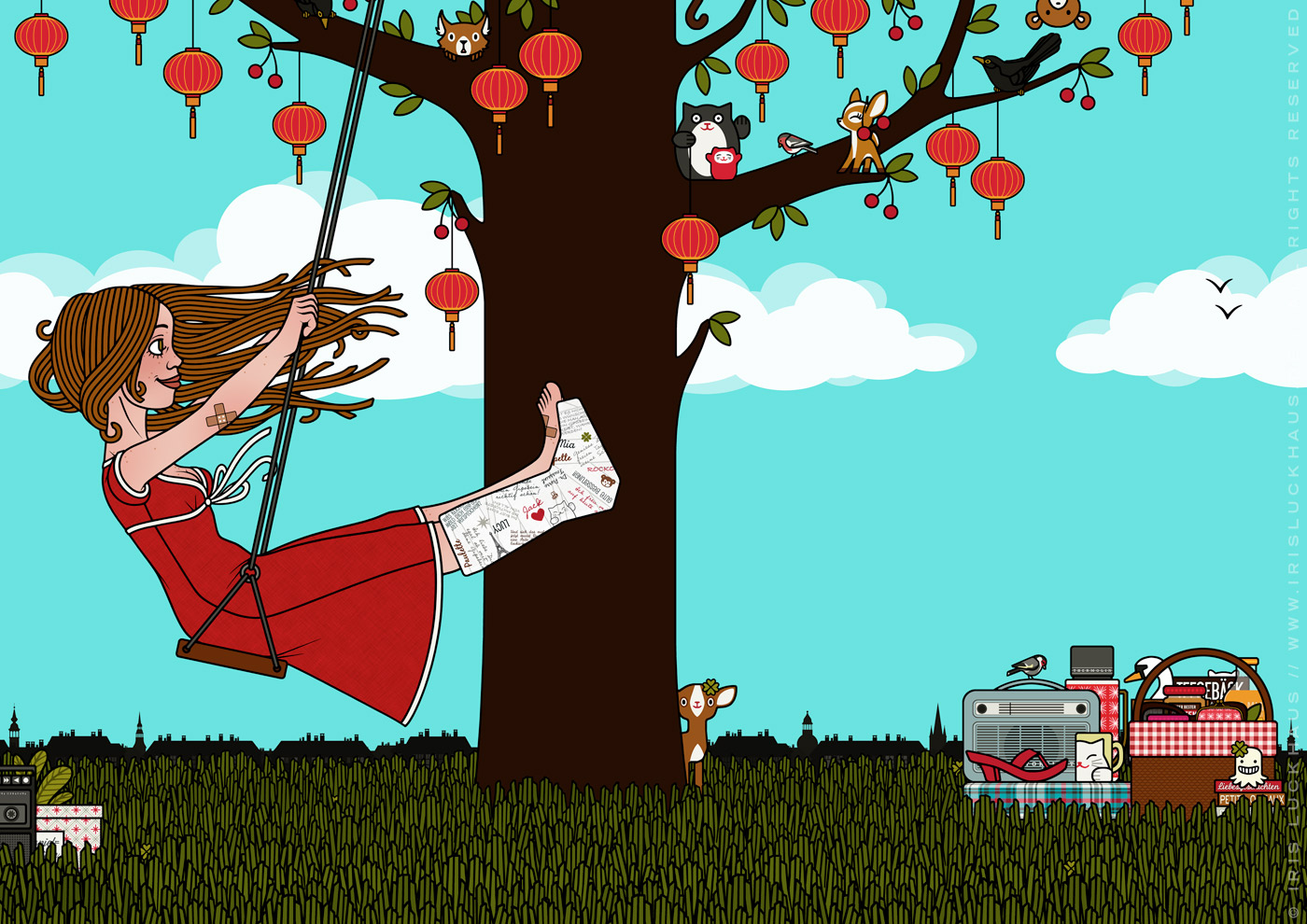 Zeichnung von Mädchen mit Gipsbein auf einer Schaukel am Kirschbaum mit Lampions im Glück im Unglück für Lily Lux von Iris Luckhaus