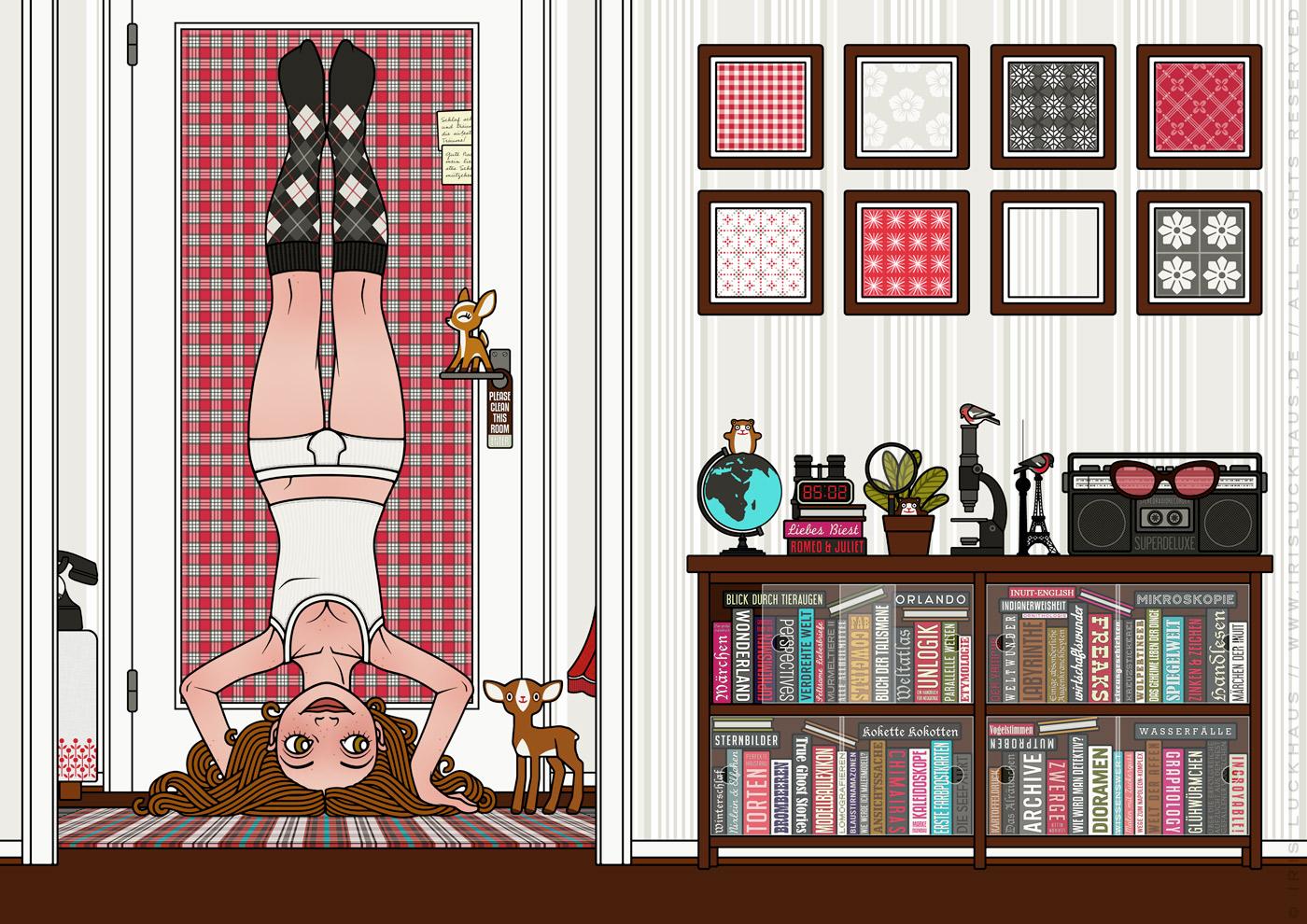 Zeichnung von einem Mädchen, das im Kopfstand den Blinkwinkel oder die Perspektive wechselt, für Lily Lux von Iris Luckhaus