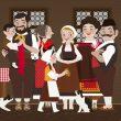 Illustration zu The Little Girl and the Winter Whirlwinds mit Bulgarischen Trachten von Iris Luckhaus