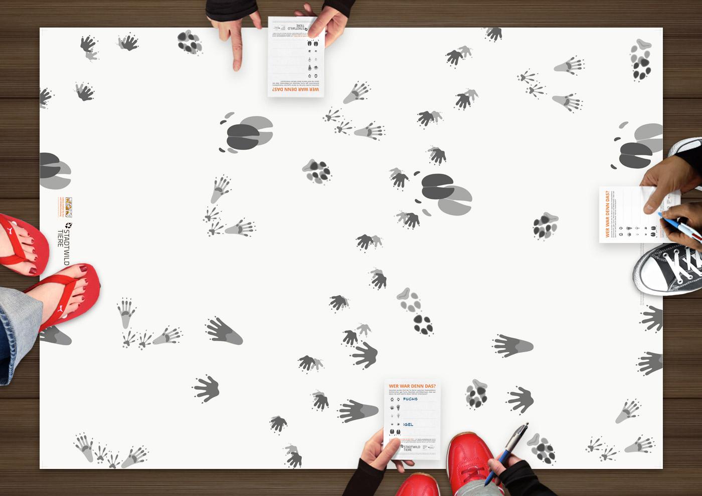 Quiz für Kinder mit Tierspuren und Fährten von Igel, Waschbär, Wildschwein, Eichhörnchen und Fuchs, für Stadtwildtiere im IZW im BBIB, von Iris Luckhaus und Stefanie Argow