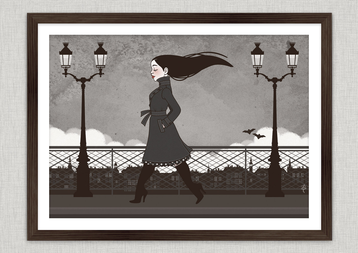 Vampirmädchen Carmilla beim Abendspaziergang über die Brücken von Paris, mit Fledermäusen und Regenhimmel, von Iris Luckhaus
