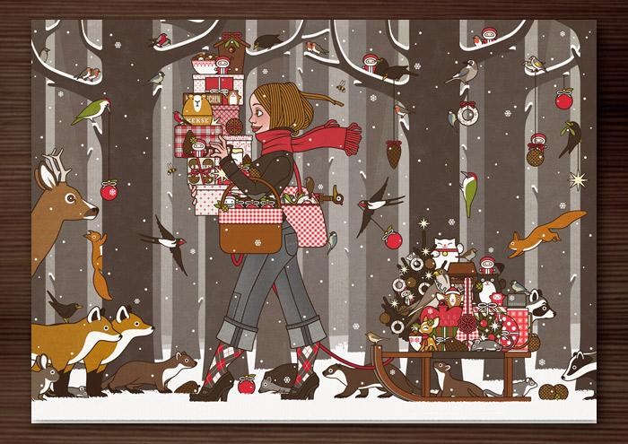 Zeichnung von einem Mädchen, das im Winter und zur Feier des Advents im winterlich verschneiten Wald voller Vorfreude mit Geschenken und Schmuck wie Meisenknödeln, Meisenringen, Äpfeln und Vogelfutter für Waldtiere wie Eichhörnchen, Füchse, Rehe, Singvögel und Amseln unterwegs ist und dem Waschbär, Dachs und Marder einen Meisenknödel vom Schlitten stehlen, für Lily Lux von Iris Luckhaus