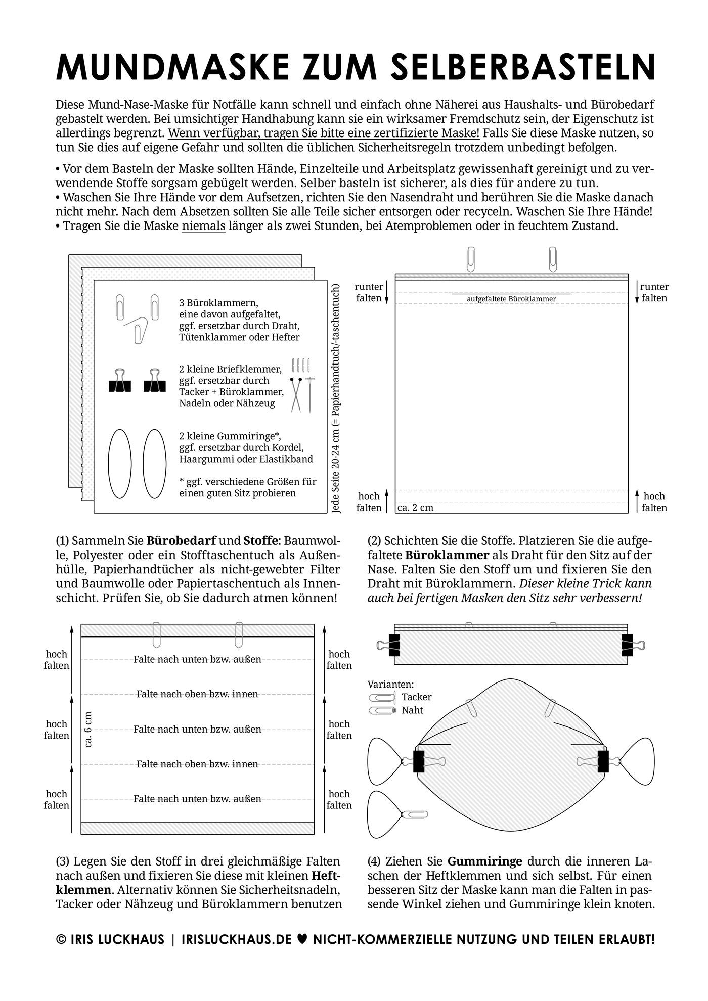Mundmaske für Notfälle zum schnellen Selberbasteln ohne Nähen