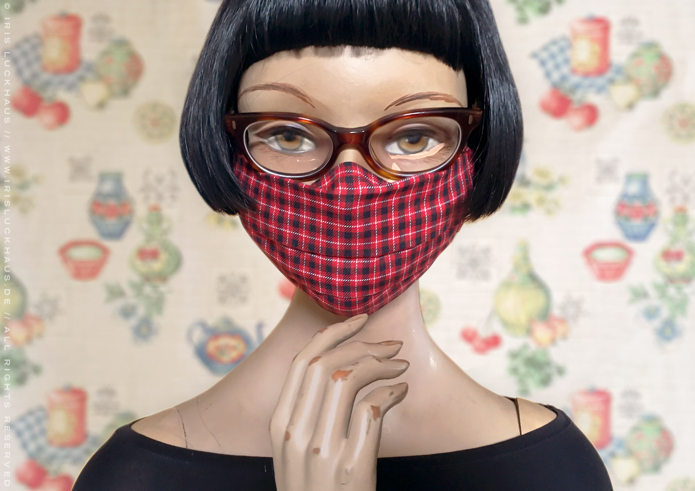 Optimized hybrid cloth mask, fabric mask, mouth-nose mask, face mask or face covering, gapless and fog-free for glasses, to sew DIY with instructions, pattern and template with nose piece or nose wire, filter opening and drawstring channel for ear loops or head ties by Iris Luckhaus
