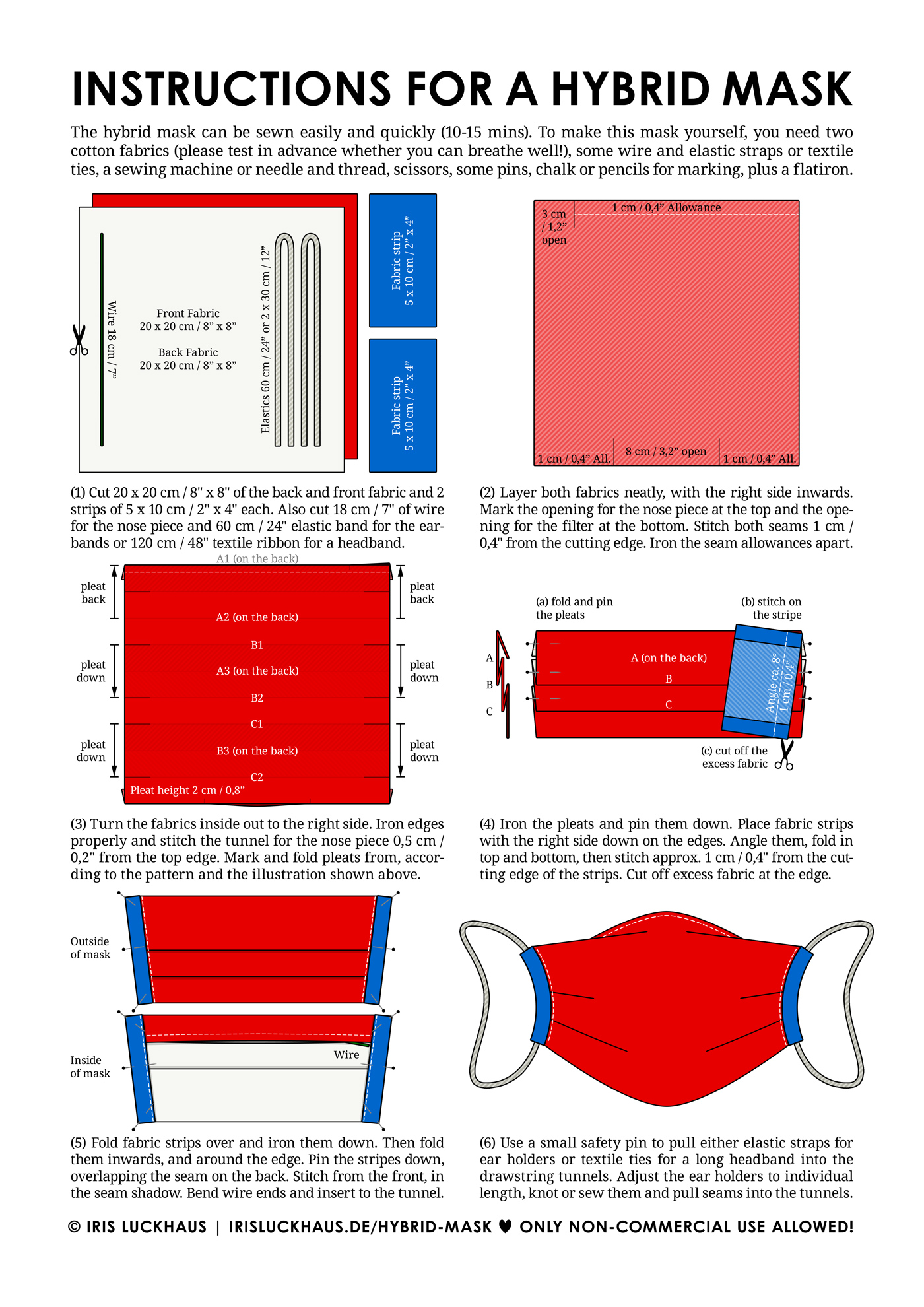 DIY Instructions, Pattern and Template for Sewing a Hybrid Cloth Mask or Face Mask by Iris Luckhaus