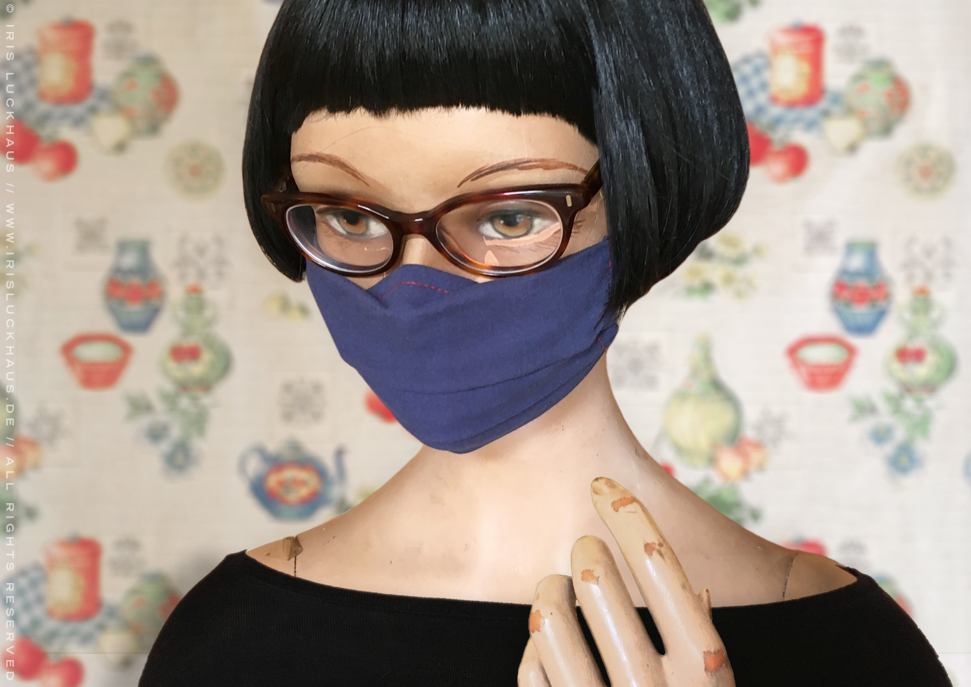 Optimized, gapless, fog free and stay in place hybrid mask, makeshift mask, cloth mask, face mask or face covering for glasses, DIY self-sewing with instructions, pattern and template on fabric with nose wire or nose piece, filter opening and drawstring channel for ears loops and head ties by Iris Luckhaus