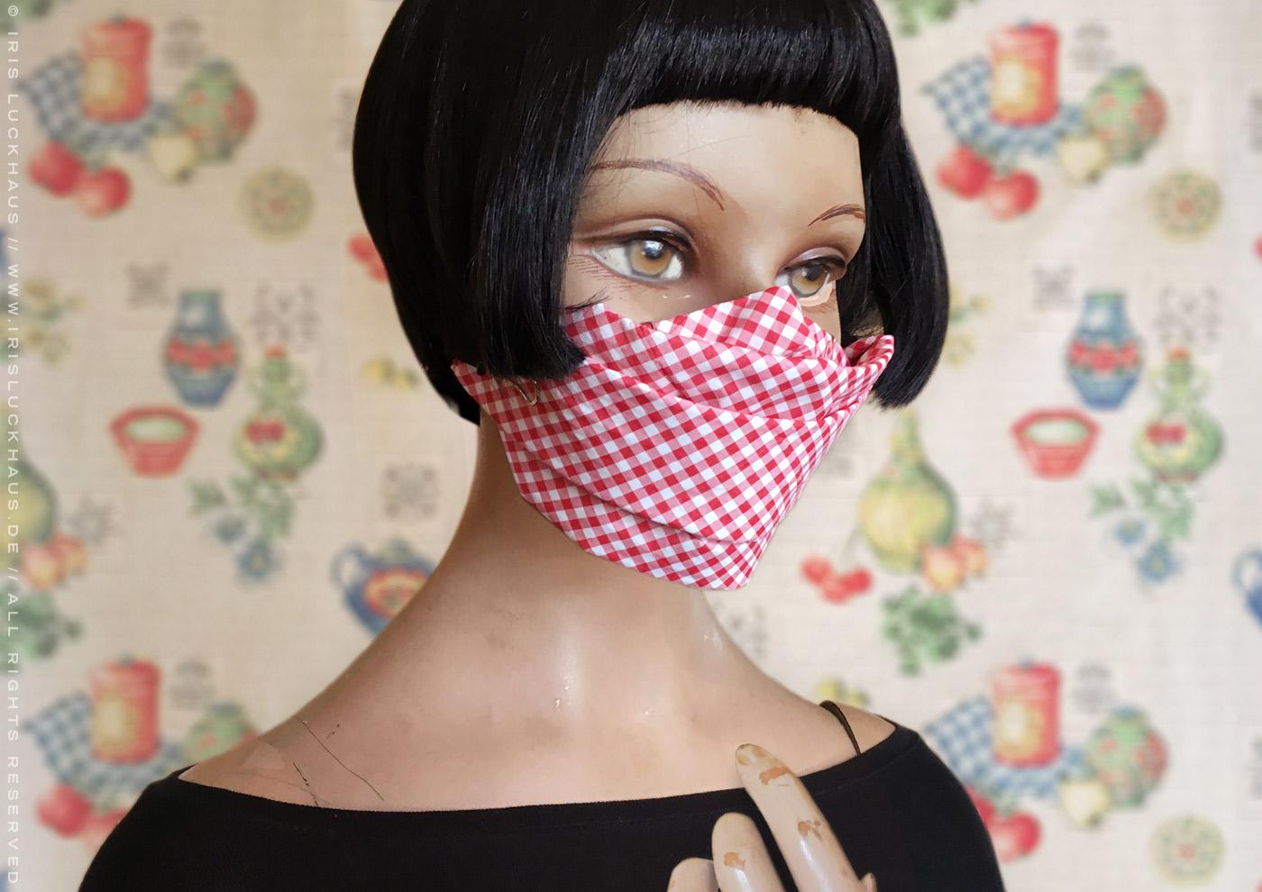 Behelfsmaske, Alltagsmaske, Notfallmaske, Mundmaske, Mund-Nase-Maske oder Papiermaske zum Selberbasteln ohne Nähen mit Anleitung und Schnittmuster zum Basteln mit Servietten, Büroklammern, Papierhandtuch, Papiertaschentuch und Gummiring von Iris Luckhaus