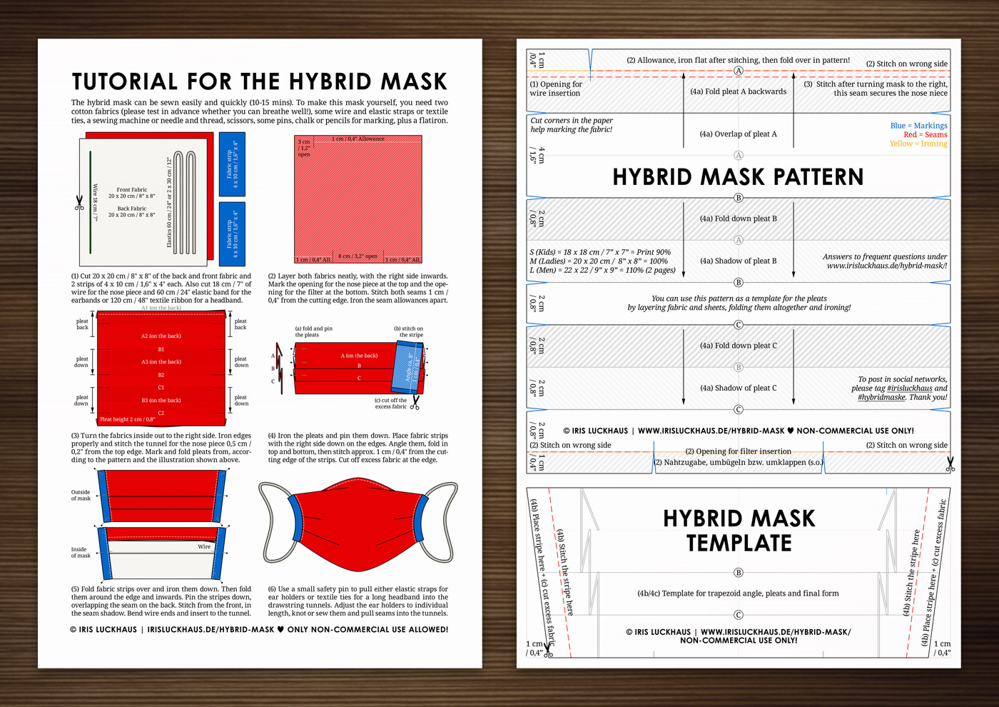 Instructions, Tutorial and Pattern for a Hybrid Cloth Mask by Iris Luckhaus