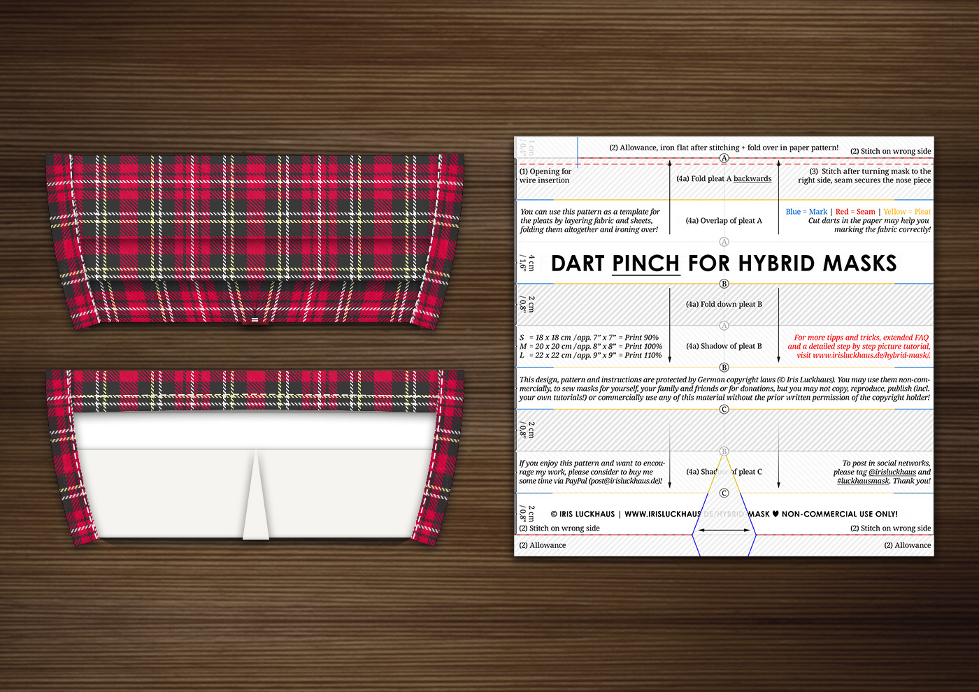 Luckhaus Hybrid Dart Cloth Mask Sewing Pattern, gapless and fog free for Glasses Wearers