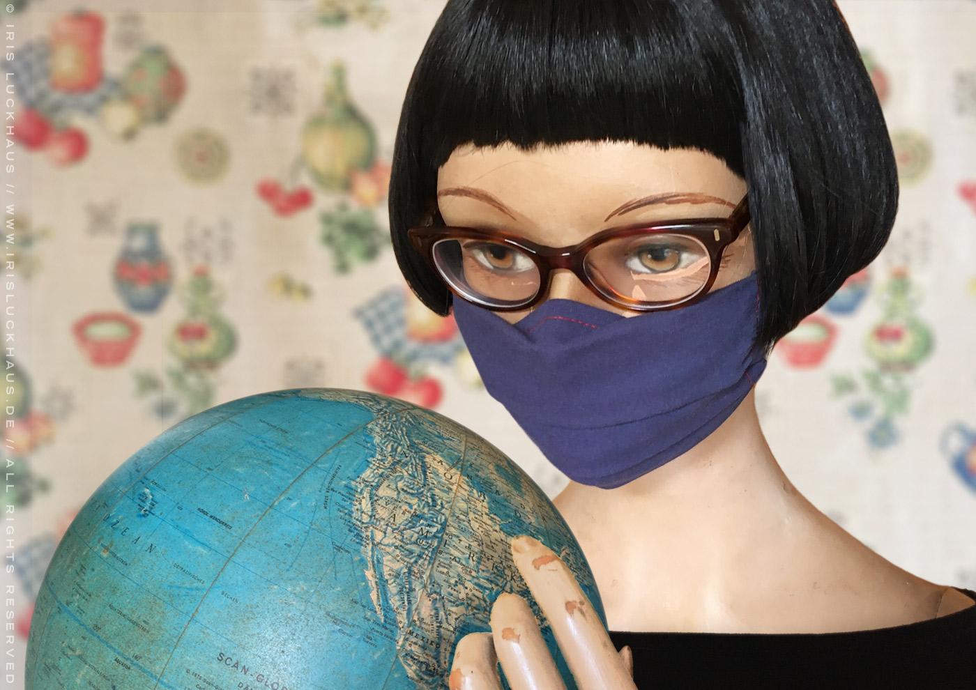 Optimierte Hybrid-Maske, Behelfsmaske, Alltagsmaske, Mundmaske oder Mund-Nase-Maske zum Selbernähen mit Anleitung, Schnittmuster, Schablone und Beiblatt von Iris Luckhaus