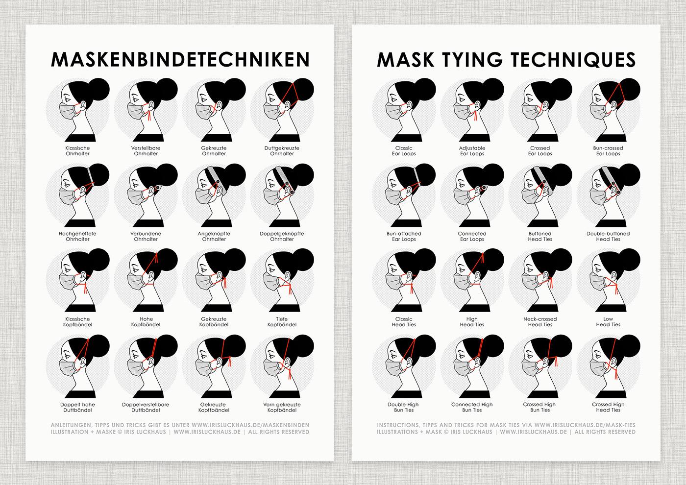 Infografik zu Maskenbindetechniken, die am Beispiel der Hybrid-Maske verschiedene Arten oder Wege zeigt, wie man die Behelfsmaske, Alltagsmaske, Mundmaske, Stoffmaske, Mund-Nasen-Maske oder Mund-Nasen-Bedeckung mit Ohrhalter, Ohrgummi, Ohrband oder Kopfbändel aus Elastik, Jersey oder Textilband mit und ohne verstellbare Schiebeknoten, Ponyperlen oder Kordelstopper und Dutt oder Pferdeschwanz an den Ohren oder um den Kopf befestigt, von Iris Luckhaus