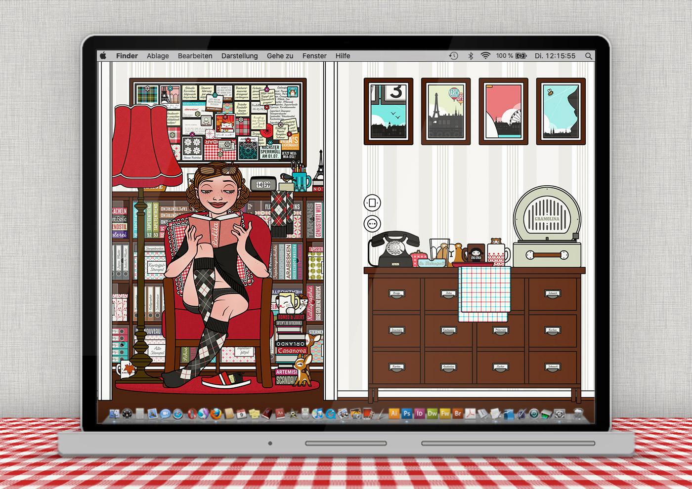 Lily Lux Wallpaper mit gestohlener Zeit im Lesesessel