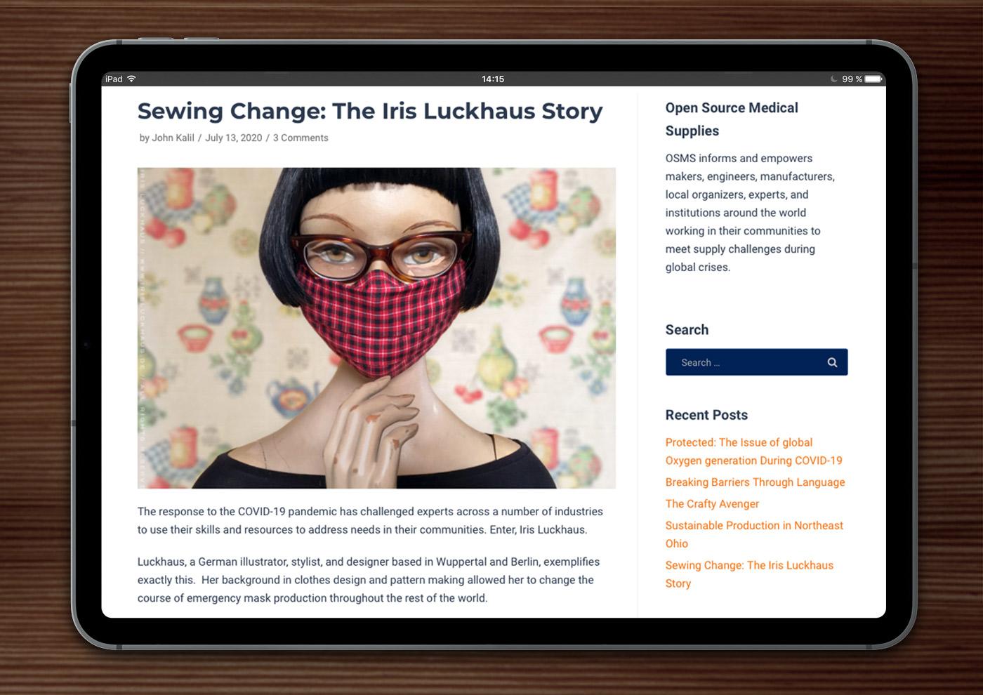 "Open Source Medical Supplies: Sewing Change, The Iris Luckhaus Story"" by John Kalil"