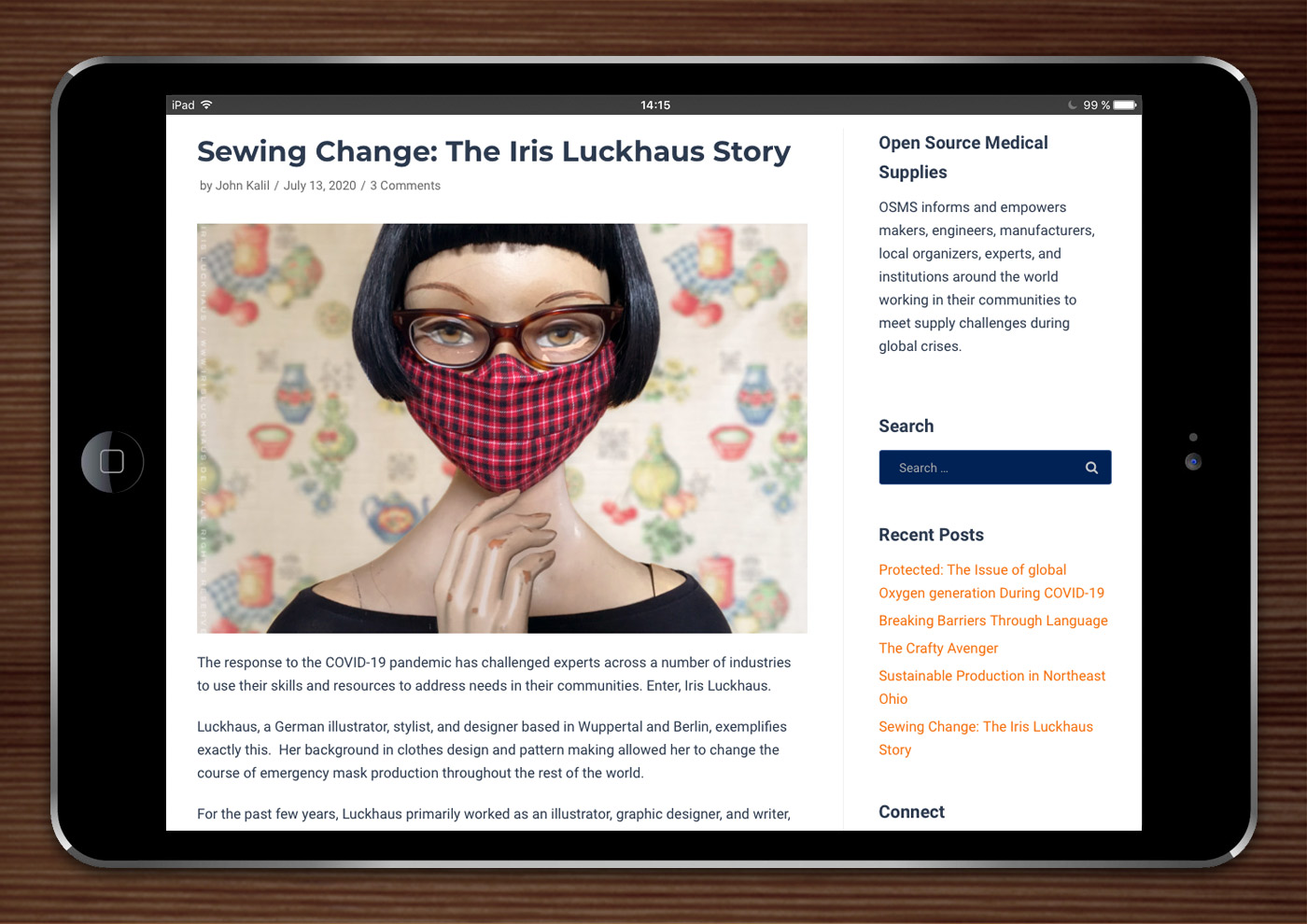 Open Source Medical Supplies: Sewing Change, The Iris Luckhaus Story