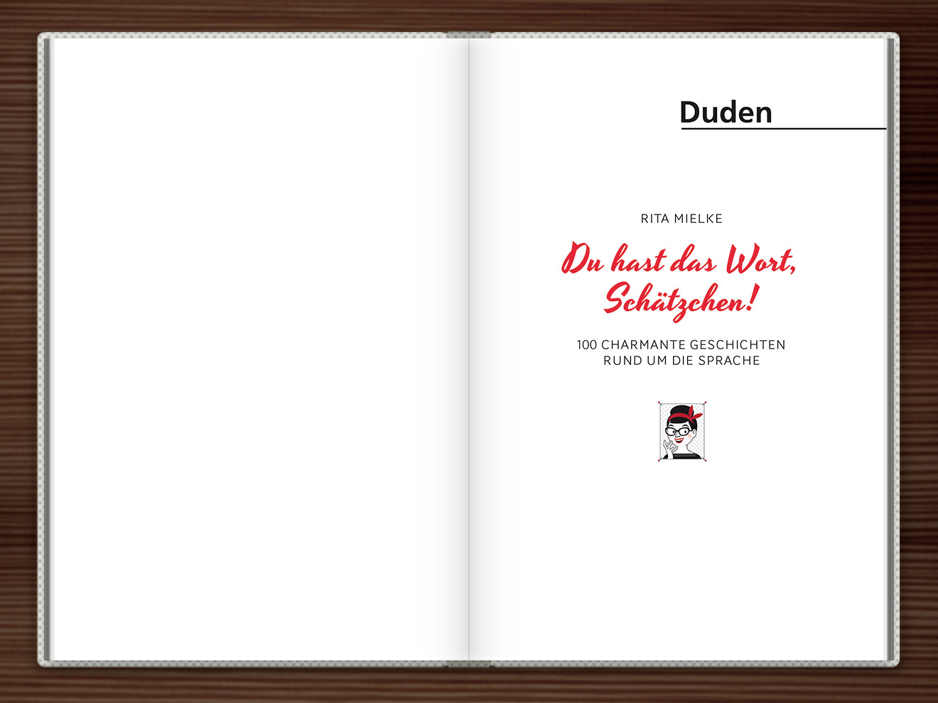 Vorsatz im Buch Du hast das Wort, Schätzchen! 100 charmante Geschichten rund um die Sprache im Duden Verlag von Rita Mielke mit Illustrationen im Sixties-Stil von Iris Luckhaus