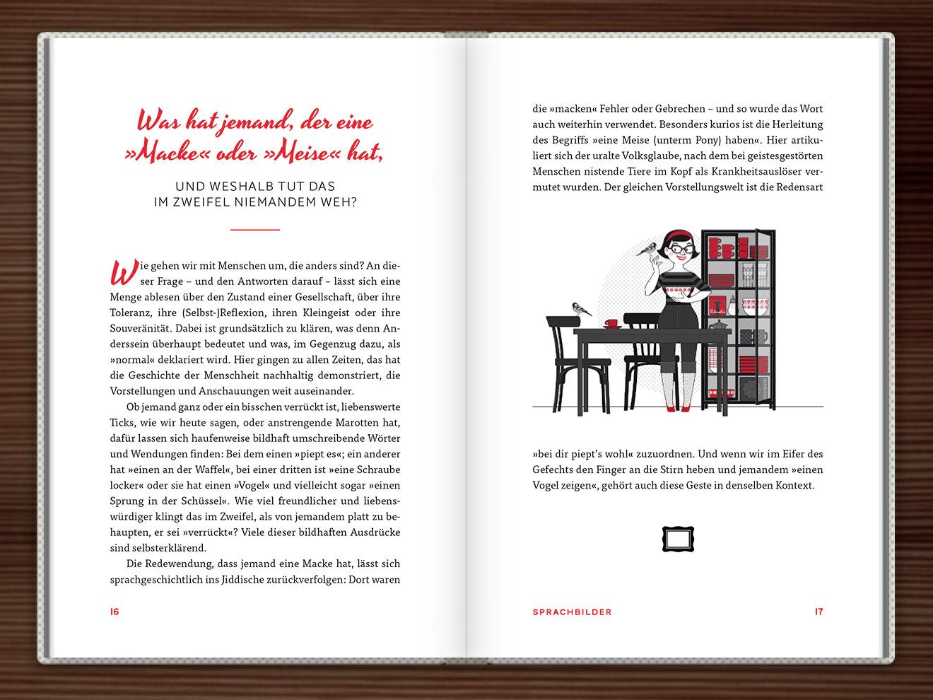 Du hast eine Meise im Buch Du hast das Wort, Schätzchen! 100 charmante Geschichten rund um die Sprache im Duden Verlag von Rita Mielke mit Illustrationen im Sixties-Stil von Iris Luckhaus