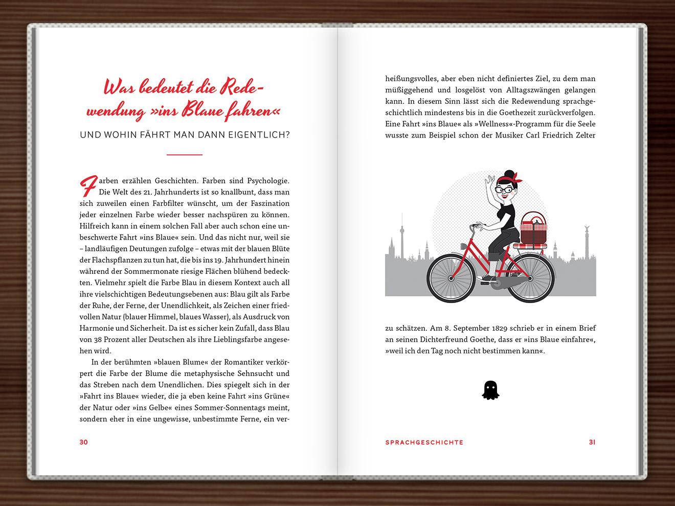 Ins Blaue fahren im Buch Du hast das Wort, Schätzchen! 100 charmante Geschichten rund um die Sprache im Duden Verlag von Rita Mielke mit Illustrationen im Sixties-Stil von Iris Luckhaus