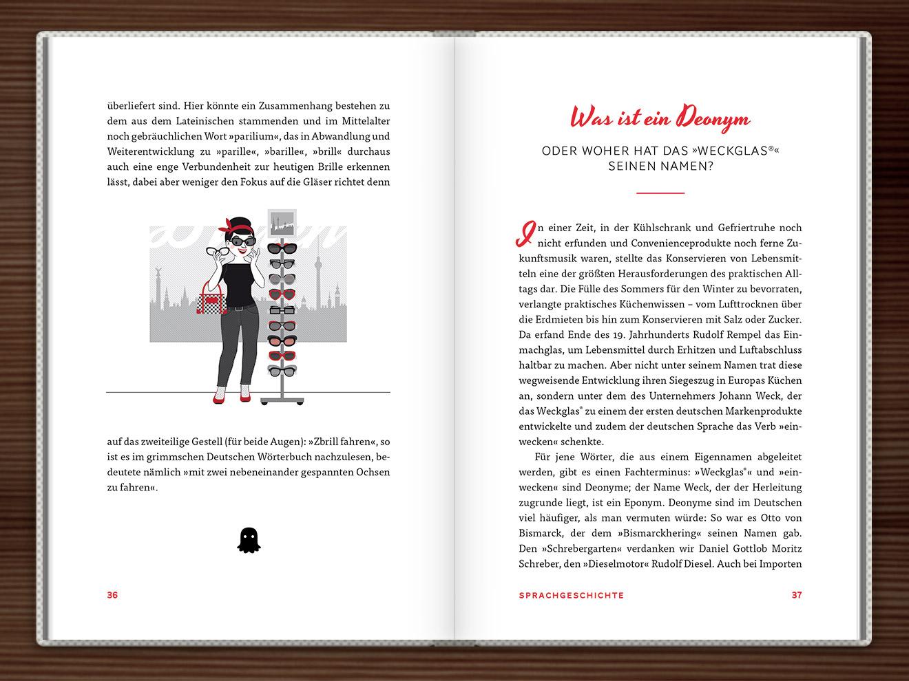Brille im Buch Du hast das Wort, Schätzchen! 100 charmante Geschichten rund um die Sprache im Duden Verlag von Rita Mielke mit Illustrationen im Sixties-Stil von Iris Luckhaus