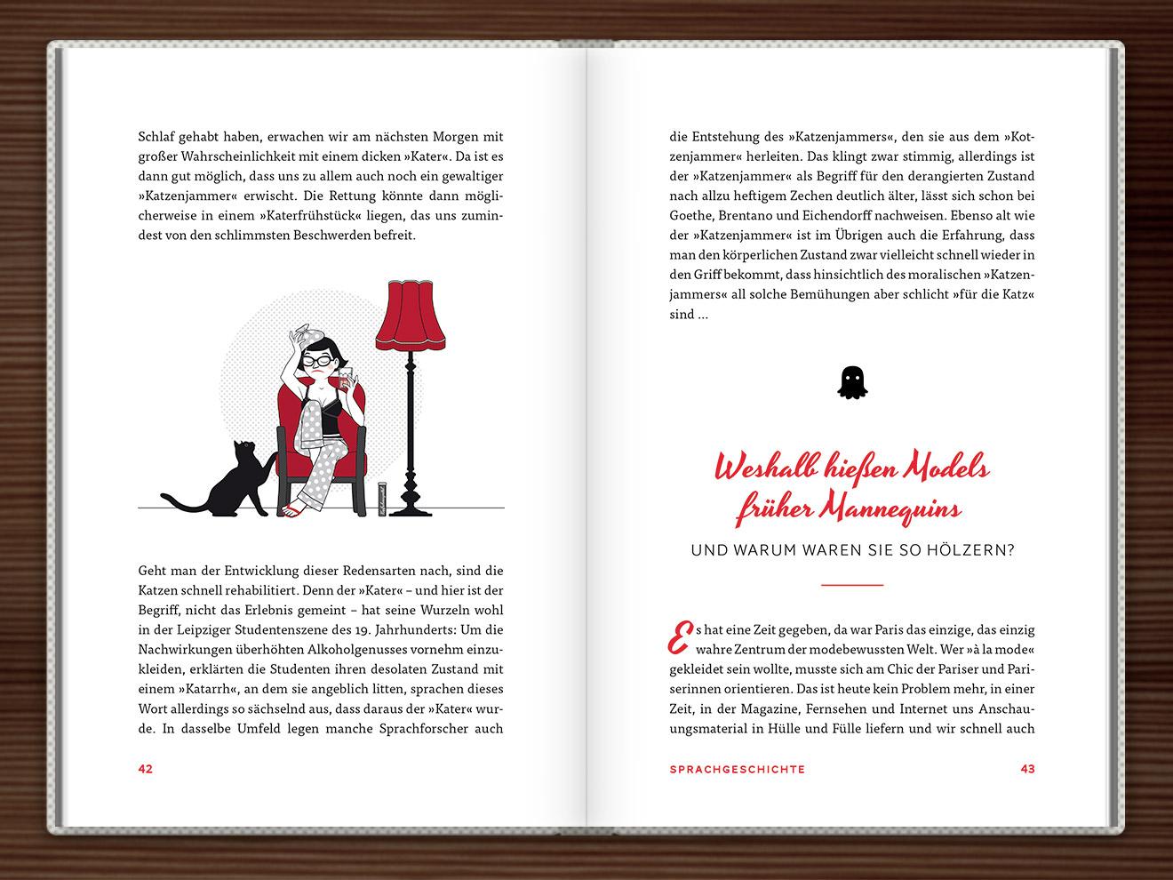 Einen Kater haben im Buch Du hast das Wort, Schätzchen! 100 charmante Geschichten rund um die Sprache im Duden Verlag von Rita Mielke mit Illustrationen im Sixties-Stil von Iris Luckhaus