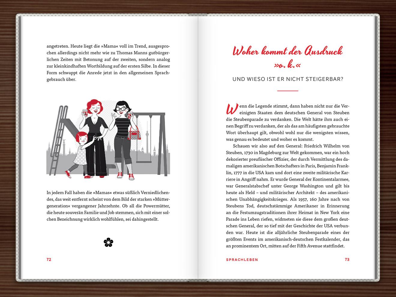 Mama im Buch Du hast das Wort, Schätzchen! 100 charmante Geschichten rund um die Sprache im Duden Verlag von Rita Mielke mit Illustrationen im Sixties-Stil von Iris Luckhaus