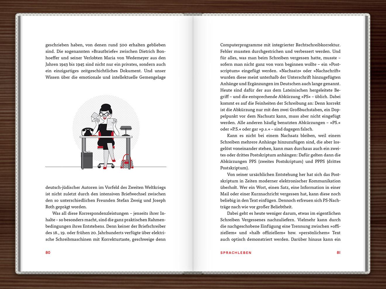 Postskriptum im Buch Du hast das Wort, Schätzchen! 100 charmante Geschichten rund um die Sprache im Duden Verlag von Rita Mielke mit Illustrationen im Sixties-Stil von Iris Luckhaus