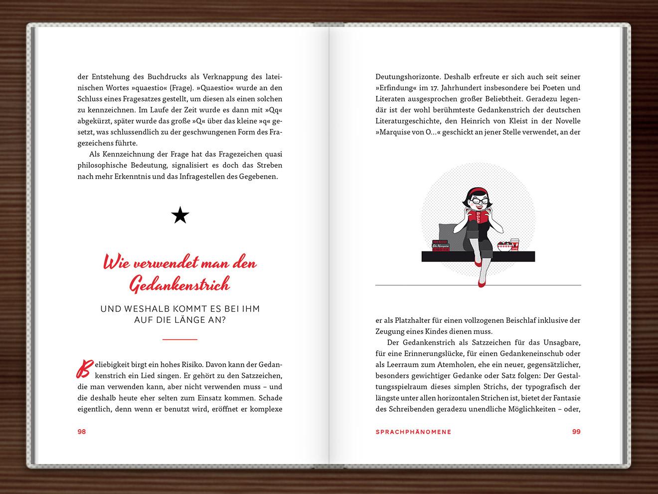 Gedankenstrich im Buch Du hast das Wort, Schätzchen! 100 charmante Geschichten rund um die Sprache im Duden Verlag von Rita Mielke mit Illustrationen im Sixties-Stil von Iris Luckhaus