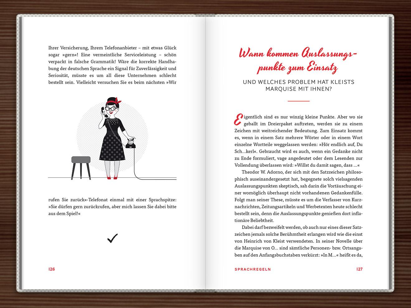 Rückruf im Buch Du hast das Wort, Schätzchen! 100 charmante Geschichten rund um die Sprache im Duden Verlag von Rita Mielke mit Illustrationen im Sixties-Stil von Iris Luckhaus