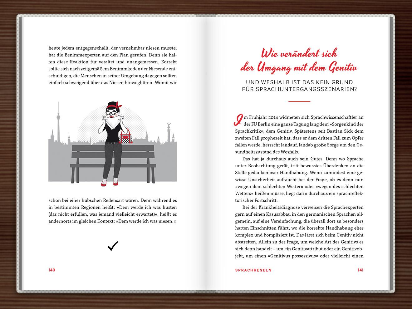 Niesen im Buch Du hast das Wort, Schätzchen! 100 charmante Geschichten rund um die Sprache im Duden Verlag von Rita Mielke mit Illustrationen im Sixties-Stil von Iris Luckhaus