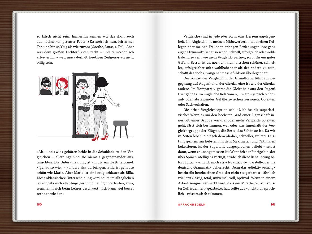 Vergleiche im Buch Du hast das Wort, Schätzchen! 100 charmante Geschichten rund um die Sprache im Duden Verlag von Rita Mielke mit Illustrationen im Sixties-Stil von Iris Luckhaus