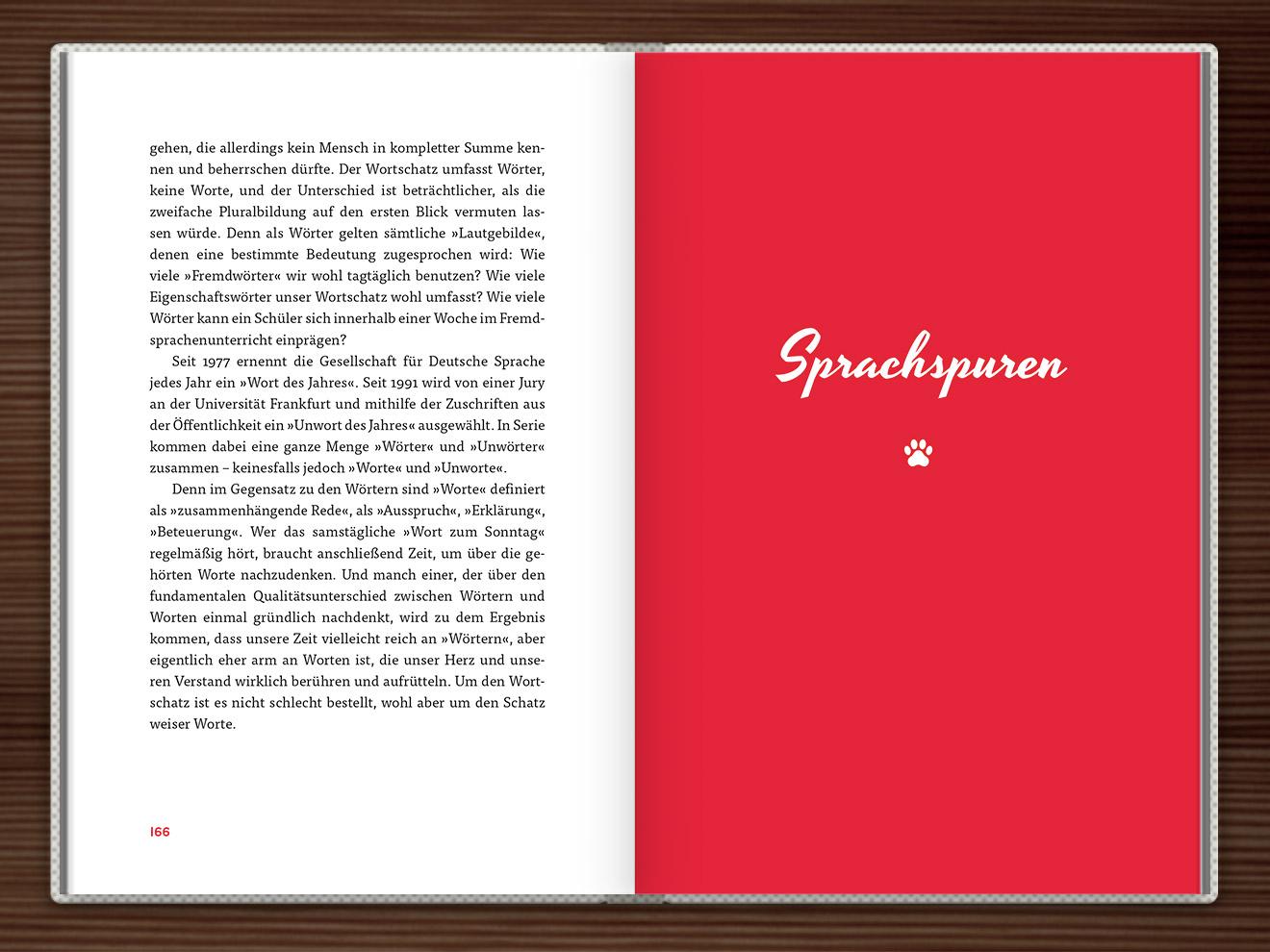 Sprachspuren im Buch Du hast das Wort, Schätzchen! 100 charmante Geschichten rund um die Sprache im Duden Verlag von Rita Mielke mit Illustrationen im Sixties-Stil von Iris Luckhaus