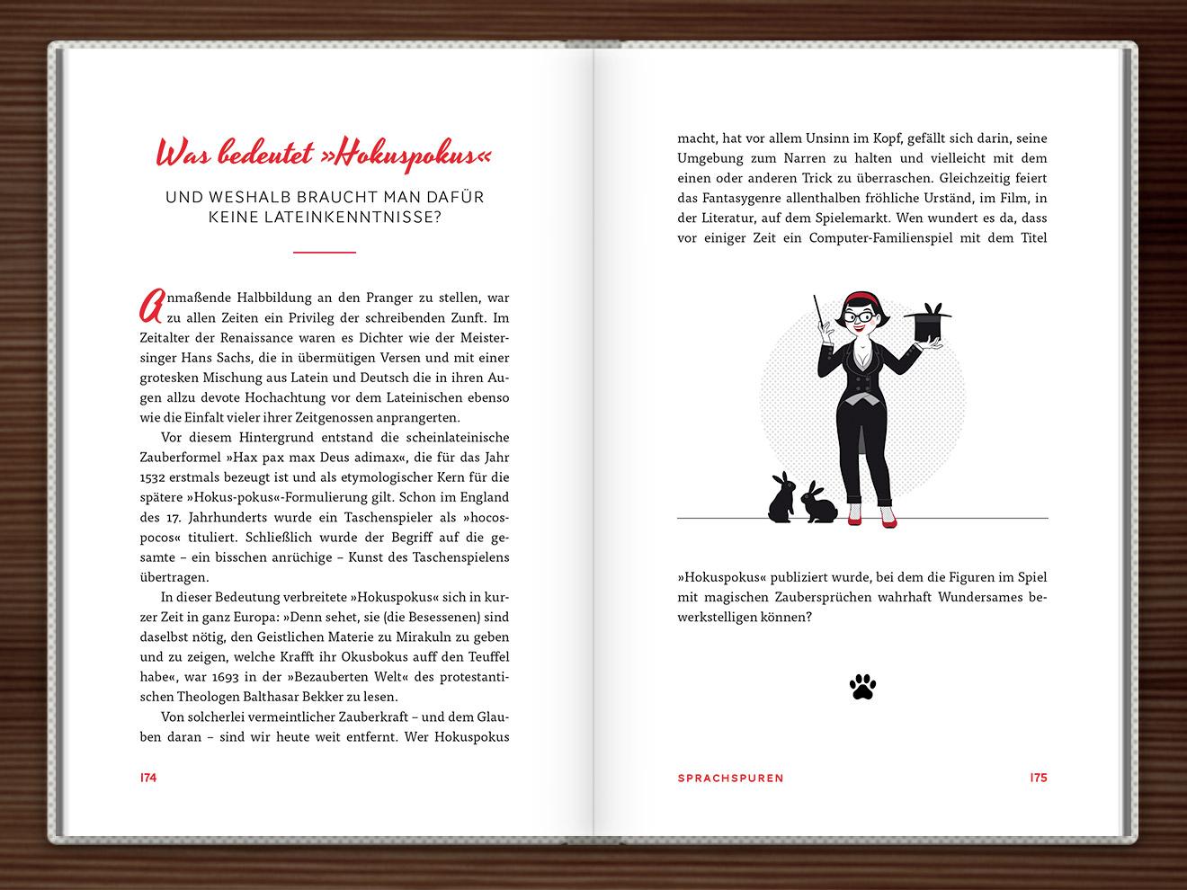 Hokuspokus im Buch Du hast das Wort, Schätzchen! 100 charmante Geschichten rund um die Sprache im Duden Verlag von Rita Mielke mit Illustrationen im Sixties-Stil von Iris Luckhaus