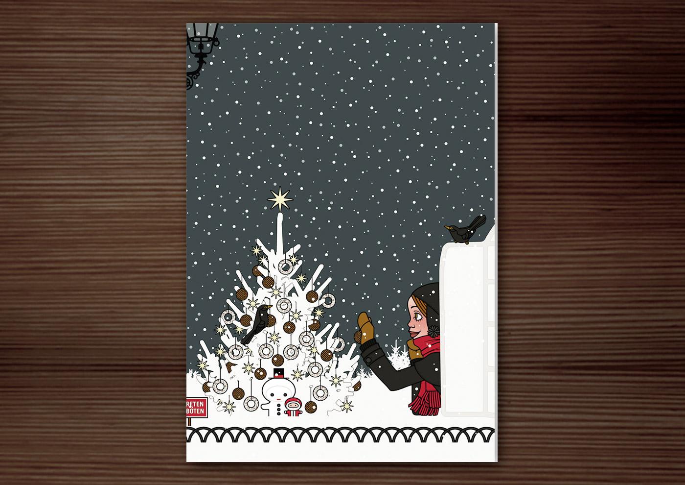 Weihnachtskarte mit der Zeichnung eines Mädchens, das sich von seiner Begeisterung für Schnee hat hinreissen lassen, einen Iglu zu bauen und nun einen Weihnachtsbaum im Park für Amseln und Singvögel mit Meisenknödeln schmückt, für Lily Lux
