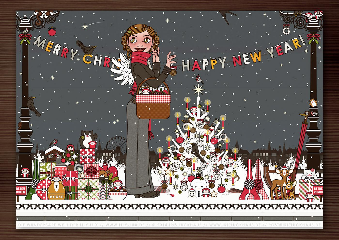 Zeichnung von einem Mädchen mit Engelsflügeln, das im Schnee im winterlichen Parkmit einem Picknickkorb Geschenke verteilt und einen Weihnachtsbaum mit Meisenknödeln schmückt, für Lily Lux von Iris Luckhaus