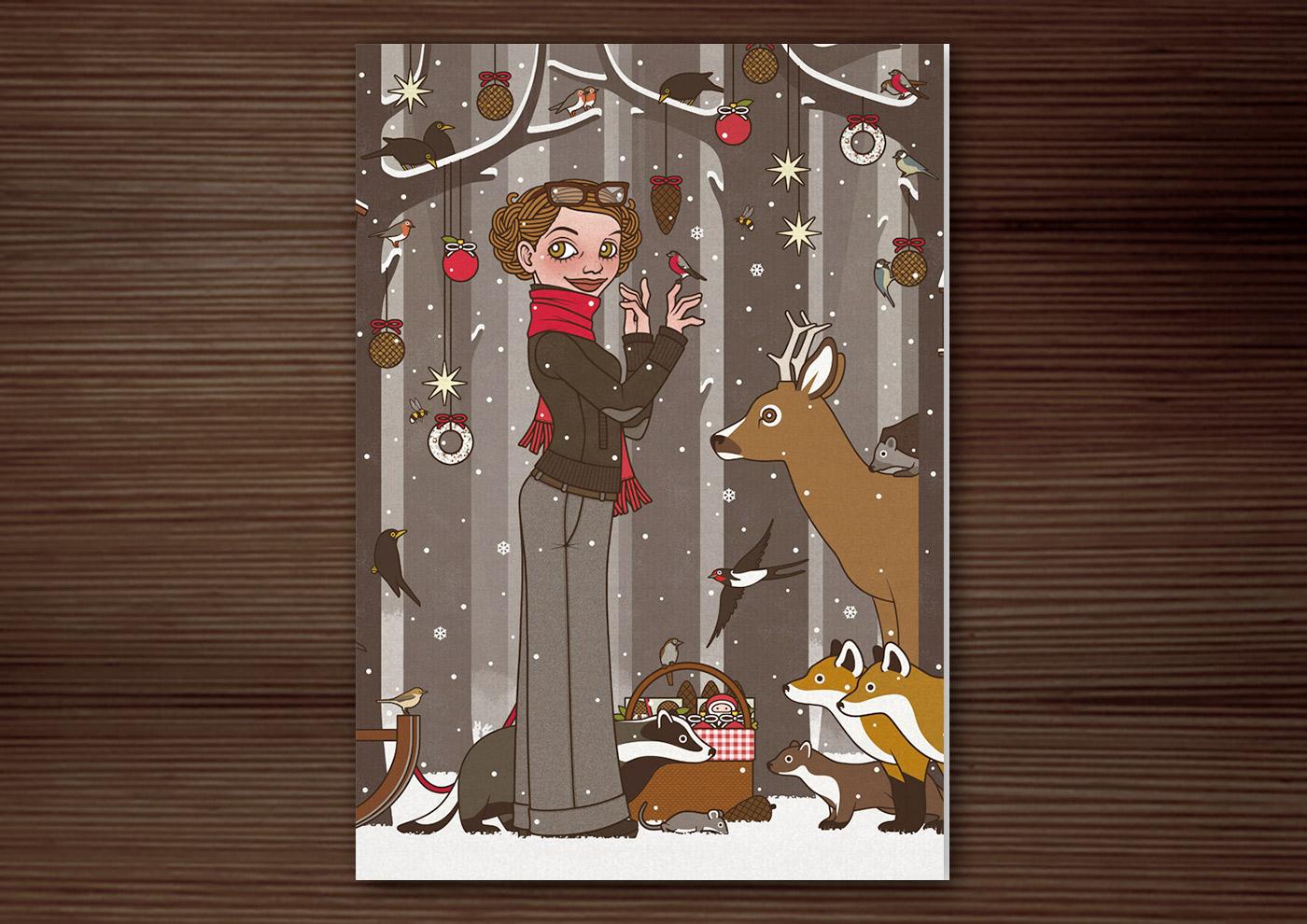 Weihnachtskarte mit Zeichnung von einem Mädchen, das im Winter und zur Feier des Advent mitten im winterlich verschneiten Wald Tieren wie Eichhörnchen, Füchsen, Rehen, Singvögeln und Amseln vorliest und den Wald außerdem mit Meisenknödeln, Meisenringen und Vogelfutter schmückt, für Lily Lux von Iris Luckhaus
