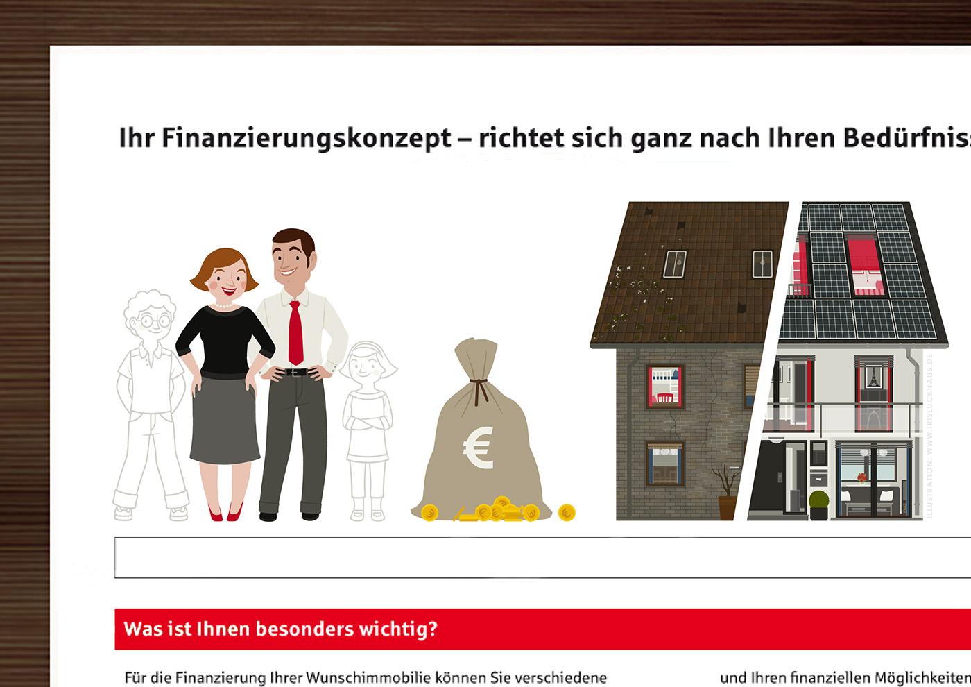 Zeichnungen von einem Paar mit Kindern zum Ausmalen, einem Geldsack und einem Haus in Renoviert und Unrenoviert für einen Fragebogen der Stadtsparkasse Wuppertal
