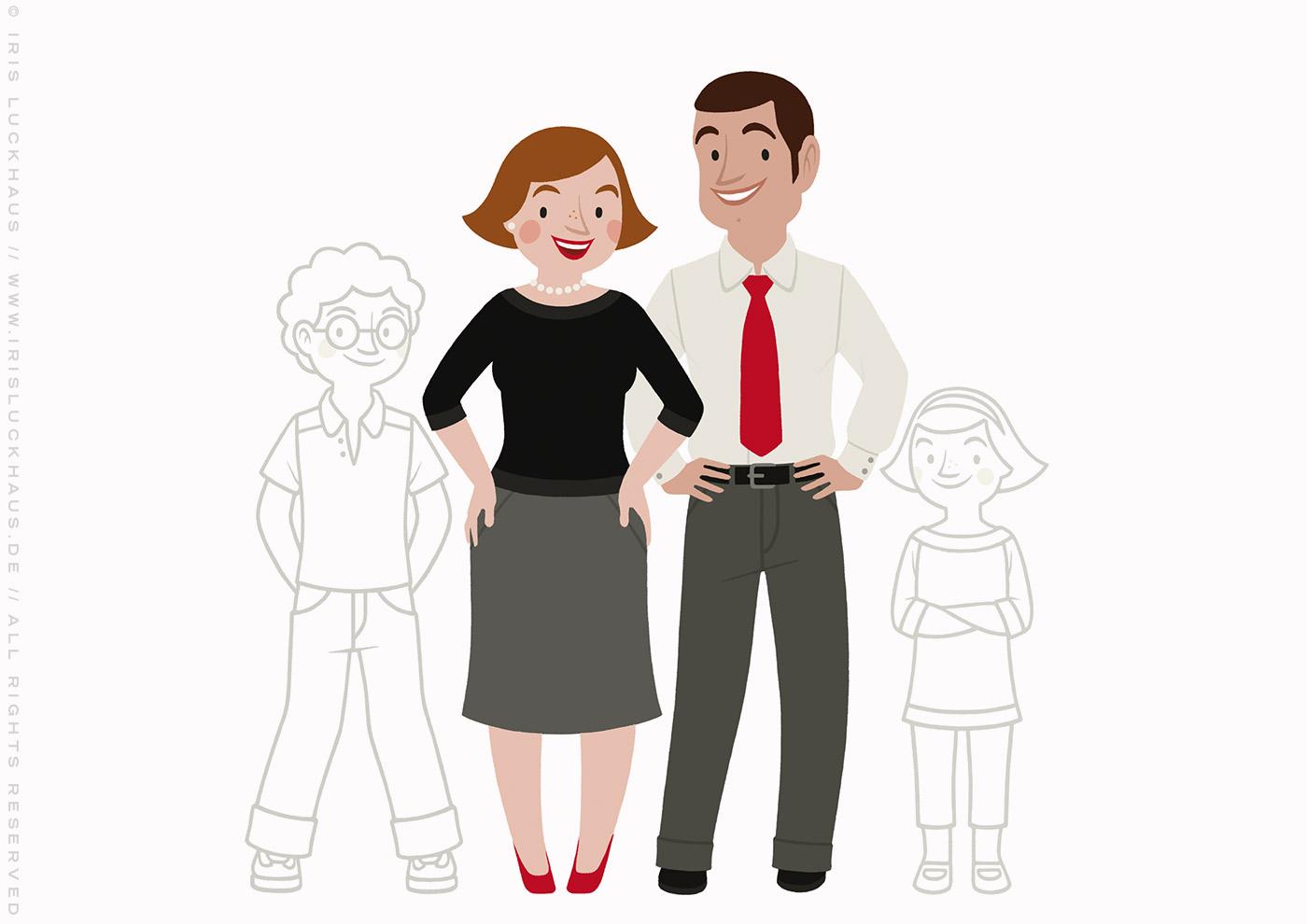 Zeichnung von einer Familie, einem Paar mit Kindern zum Ausmalen für einen Fragebogen der Stadtsparkasse Wuppertal