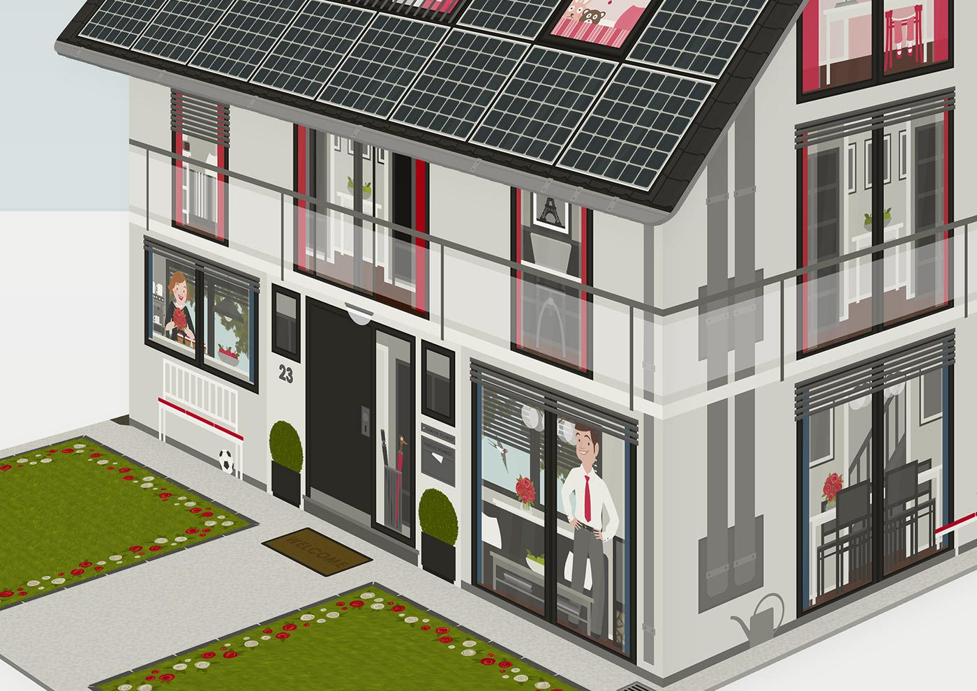 Faltbares Modell eines Hauses aus Pappe mit einer renovierten und einer unrenovierten Hälfte als Erklärhilfe für die Bausparer der Stadtsparkasse Wuppertal von Iris Luckhaus
