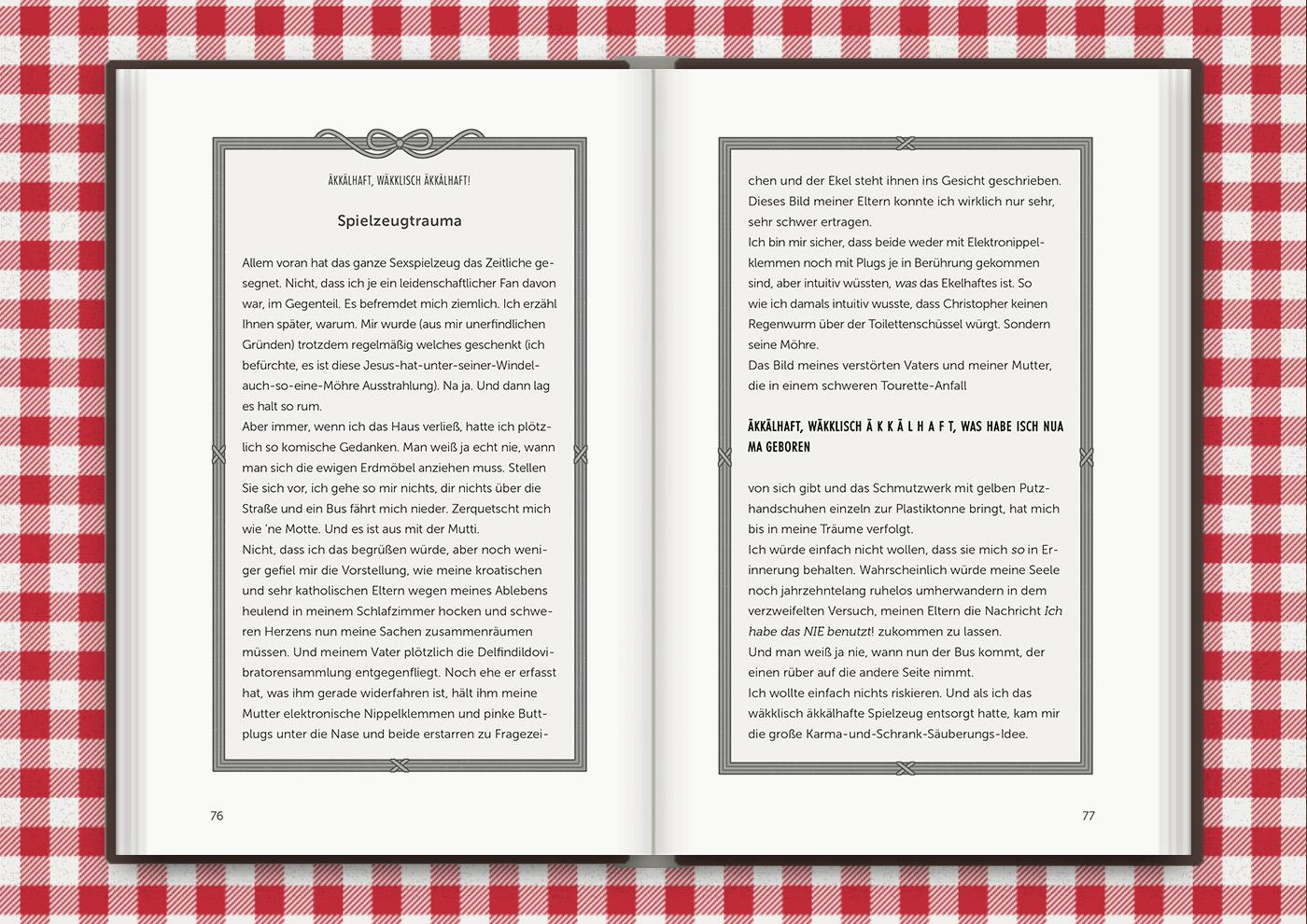 Illustrierte Textrahmen mit Schleifchen für das Buch Brauchsu keine Doktor, brauchsu nur diese Buch – Die Balkantherapie für Liebe, Leib und Leben von Mimi Fiedler im MVG Verlag
