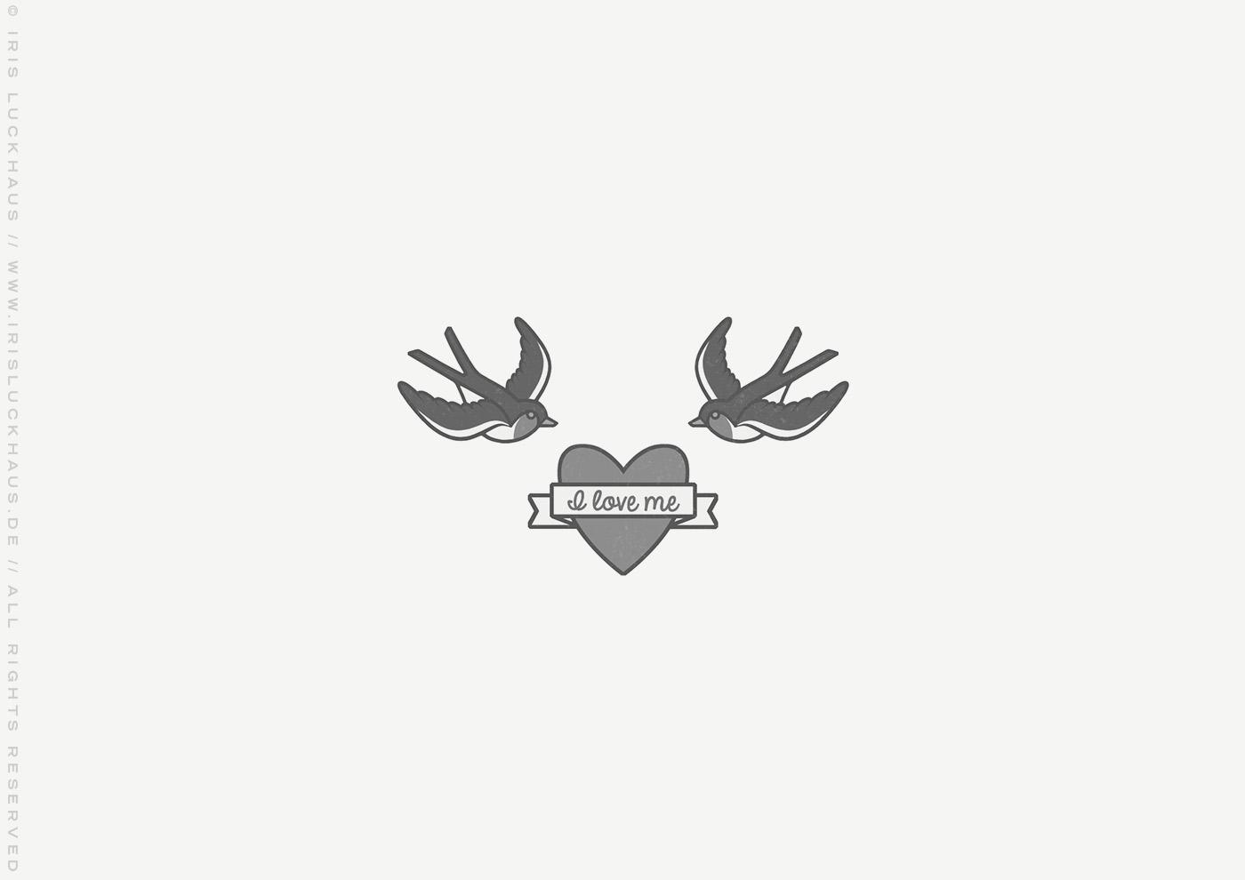 Illustration für ein Tattoo mit zwei Schwalben und einem verliebten Herz, für das Buch Brauchsu keine Doktor, brauchsu nur diese Buch – Die Balkantherapie für Liebe, Leib und Leben von Mimi Fiedler im MVG Verlag