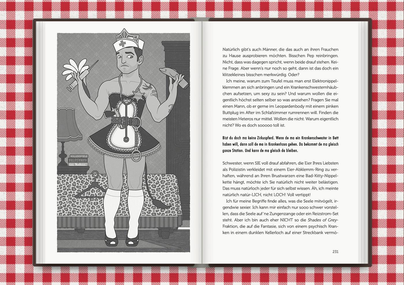 Illustration von Mimi Fiedlers kostümiertem Boytoy Guy mit Schwesternhäubchen, Spritze, Zimmermädchenuniform, Feudel, Handschellen und Sheriffstern im Buch Brauchsu keine Doktor, brauchsu nur diese Buch – Die Balkantherapie für Liebe, Leib und Leben von Mimi Fiedler im MVG Verlag