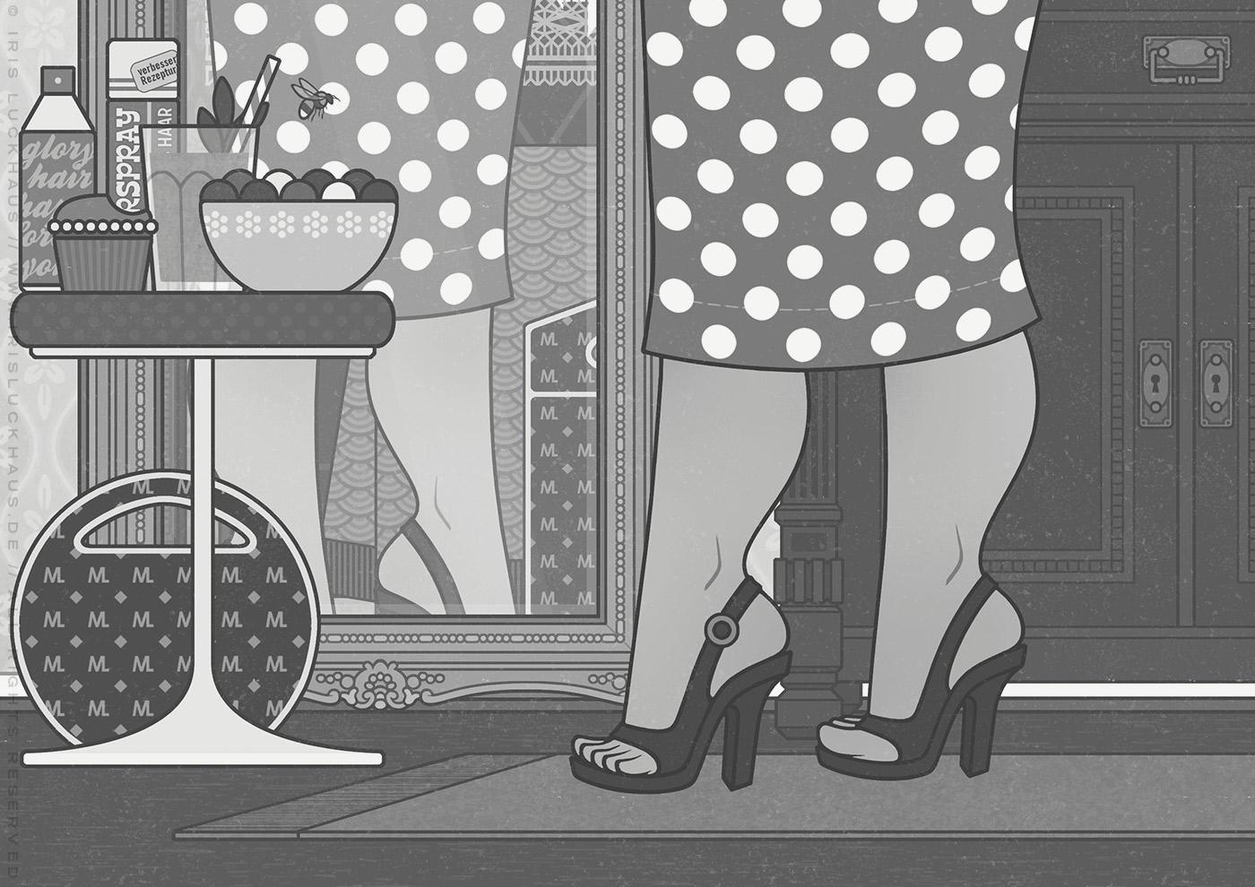 Illustration von Mimi Fiedlers selbstbewusster Mutter Marija, die sich im Spiegel betrachtet und da viel jünger und schlanker aussieht, für das Buch Brauchsu keine Doktor, brauchsu nur diese Buch – Die Balkantherapie für Liebe, Leib und Leben von Mimi Fiedler im MVG Verlag