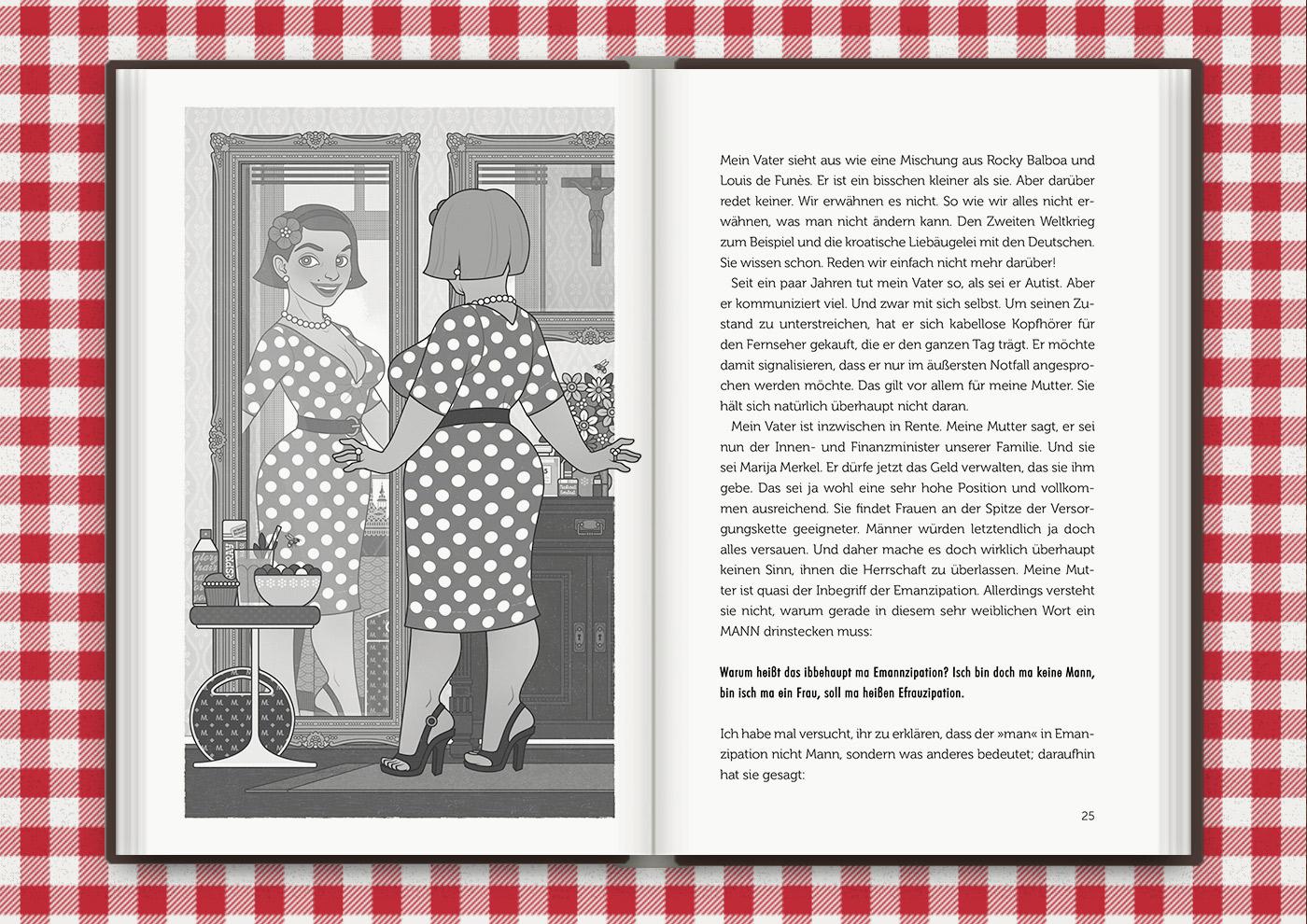 Illustration von Mimi Fiedlers selbstbewusster Mutter Marija, für das Buch Brauchsu keine Doktor, brauchsu nur diese Buch – Die Balkantherapie für Liebe, Leib und Leben von Mimi Fiedler im MVG Verlag