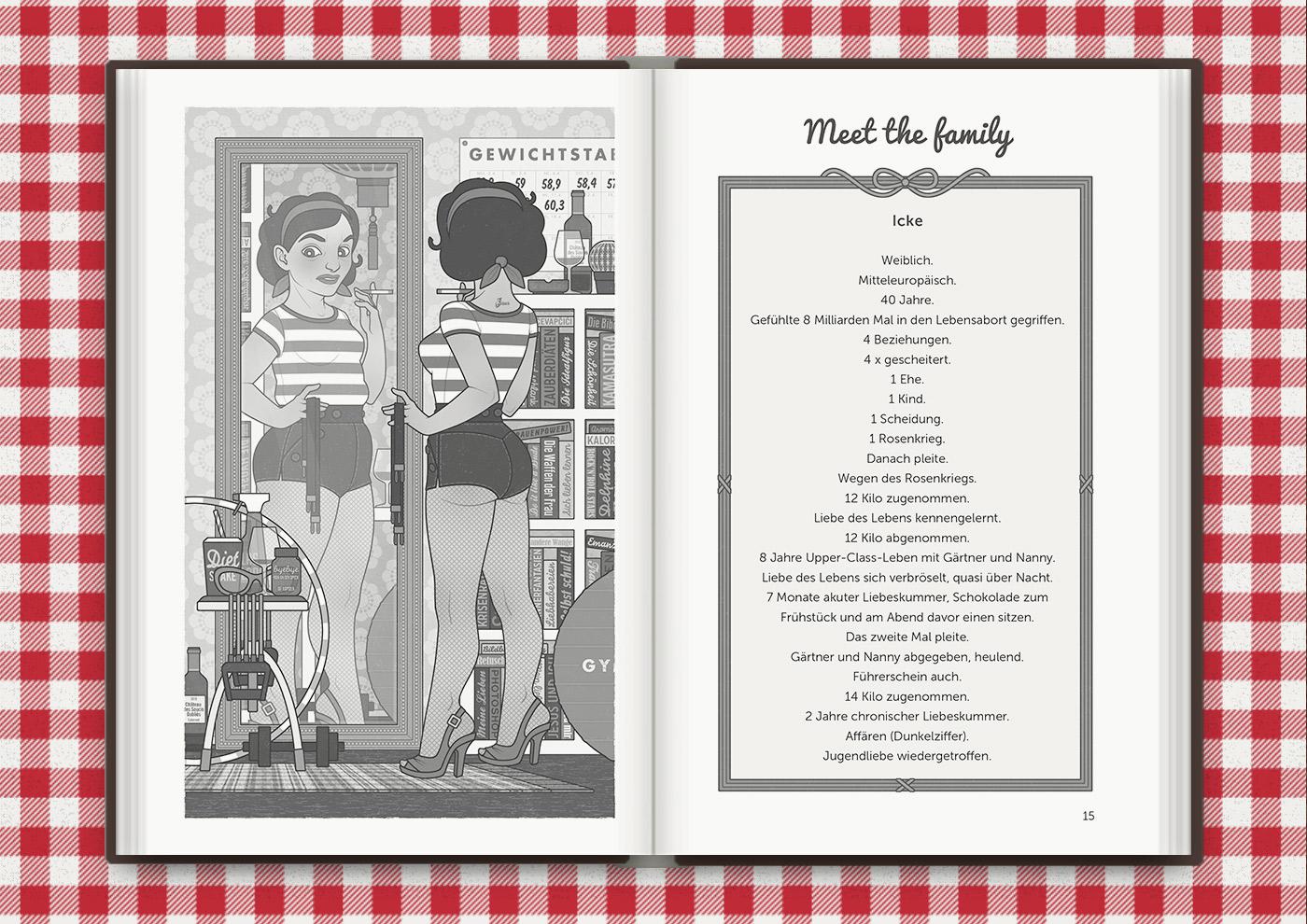 Illustration der vormals unglücklichen Mimi Fiedler, für das Buch Brauchsu keine Doktor, brauchsu nur diese Buch – Die Balkantherapie für Liebe, Leib und Leben von Mimi Fiedler im MVG Verlag